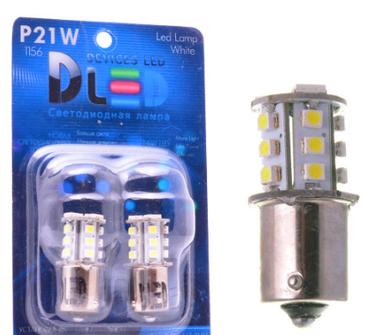 Светодиодная автолампа P21W 1156 - 18 SMD5050 + SMD3528 2,22Вт (Белая)