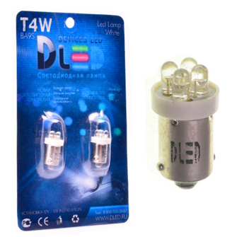 Светодиодная автолампа T4W BA9S - 4 DIP 0,2Вт (Жёлтая)