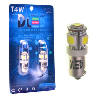 Светодиодная автолампа T4W BA9S - 5 SMD5050 1,2Вт (Белый)