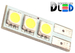 Светодиодная автолампа W5W T10 - 3 SMD5050 Односторонняя 0,72Вт (Белый)