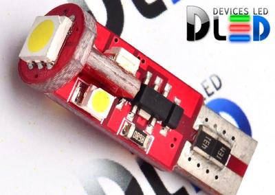 Светодиодная автолампа W5W T10 - 4 SMD3528 + 1 SMD5050 Red + Обманка + Стабилизатор 0,48Вт (Белый)