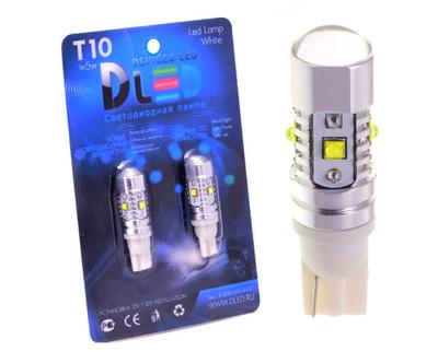 Светодиодная автолампа W5W T10 - 5 CREE + Линза 25Вт (Белый)