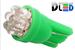 Светодиодная автолампа W5W T10 - 7 DIP 0,4Вт (Зелёная)