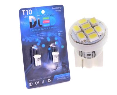 Светодиодная автолампа W5W T10 - 8 SMD1210 0,4Вт (Жёлтая)