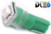 Автомобильная лампа T5 W1,2W - 1 SMD 3528  0,15Вт (Зелёная)