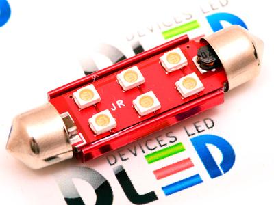 Салонная лампа C10W FEST 41мм - 6 SMD3528 3Вт (Пурпурный)
