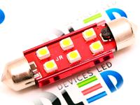 Салонная лампа C10W FEST 41мм - 6 SMD3528 3Вт (Теплый белый)